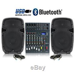 Haut-parleurs Dj Actifs Et Studiomaster 8 Canaux Bluetooth Usb Mixer 800w Disco Party