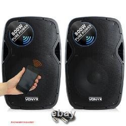 Haut-parleurs Dj Pa Disco Actif Avec Bluetooth 15 Pouces Vonyx Ap1500 1600w