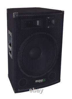 Ibiza Disco15amp 3-wege 15 Active Disco Pa-speakers 800w Microphone Monitor Dj