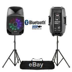 Le Karaoké De Disco De Bluetooth De Pa De Haut-parleurs Actifs Du Dj De Paire Allume 15 350w Avec Des Supports