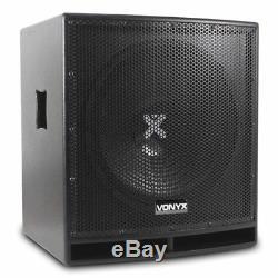 Pair Pro 15 Subwoofer Actif Amplifié Bass Bin Dj Disco Haut-parleur Secondaire 1600w