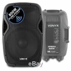 Pair Système De Haut-parleurs Sono Dj Disco De 15 Pouces Avec Alimentation Activevonyx Ap1500a 1600w Max