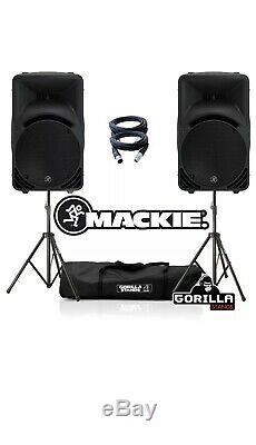 Paire 2 Mackie Srm450 V3 1000w 12 Disco Dj Actifs À Partir Haut-parleurs Leads Et Support