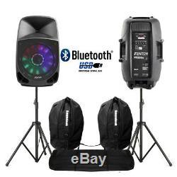Paire Active Dj Haut-parleurs Pa Bluetooth Disco Karaoke Lumières 15 350w + Stands Sacs