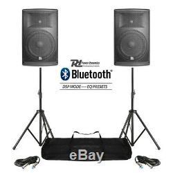 Paire Active Dj Haut-parleurs Pa Système Pro Bi-amp Disco Bluetooth 12 2800w + Stands