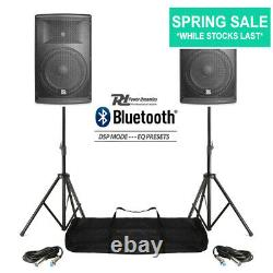 Paire Active Dj Speakers Pa Pro Bi-amp Disco System Bluetooth 12 2800w + Stands