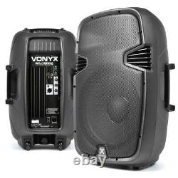 Paire Active Powered 15 Pouces Dj Disco Pa Speaker System Vonyx Spj1500a 1600w Max