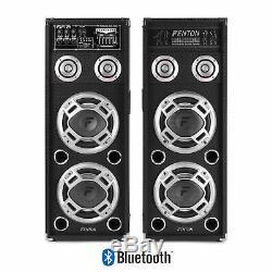 Paire Bluetooth Active 2x 8 Pouces Haut-parleurs Party Led Lumière Karaoke Dj Disco 1200w