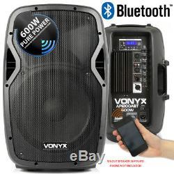 Paire De 12 Haut-parleurs Bluetooth Dj Disco Alimentés Actifs Avec Câbles, 1200 Watts