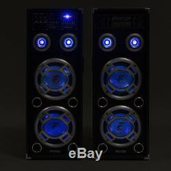 Paire De Fenton Double 8 Bluetooth Pa Haut-parleurs Actifs Led Karaoke Dj Disco Party