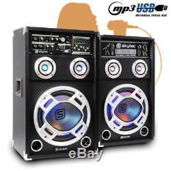 Paire De Haut-parleurs Actifs Skytec 10 Pa Actifs Rgb Led Karaoké Dj Disco Party 800w