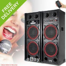 Paire De Haut-parleurs Amplifiés Actifs Skytec Dual 2x 10 Disco Party Dj System 1200w