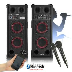 Paire De Haut-parleurs Bluetooth Maison Karaoké Avec Micros Portables 600w