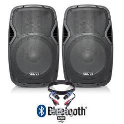 Paire De Haut-parleurs Disco Dj Bluetooth Avec Alimentation Active De 15 Bluetooth Avec Câbles De 1 600 Watts