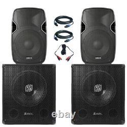 Paire Vonyx 10 Haut-parleurs Skytec 15 Active Powered Dj Disco Party Subs 2000w