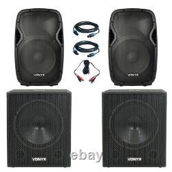 Paire Vonyx 12 Haut-parleurs Vonyx 18 Active Powered Dj Disco Party Subs 3200w