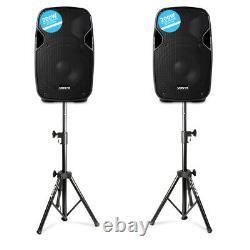 Paire Vonyx Ap800a Active Powered 8 Home Disco Party Haut-parleurs Avec Stands Pliants