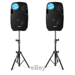 Paire Vonyx Ap800a Powered Actifs 8 Accueil Disco Party Haut-parleurs Avec Des Stands Pliables