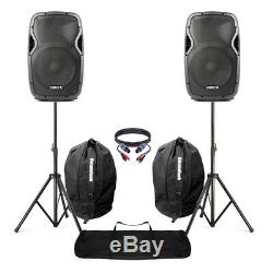Powered Actif 12 Mobile Dj Pa Disco Speaker Set + Stands, Sacs & Cables 1200w