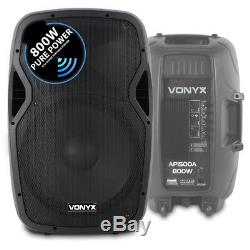 Powered Actif 15 Mobile Dj Pa Disco Speaker Set Avec Supports Et Câbles 1600w