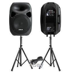 Puissant 12 Active Disco Pa Haut-parleurs Mobile Dj Portable Sound System & Stands