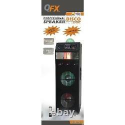 Qfx Sbx-412216 Haut-parleur Pa Double De 12 Po Avec Machine À Brouillard Intégrée Et Lumière Disco