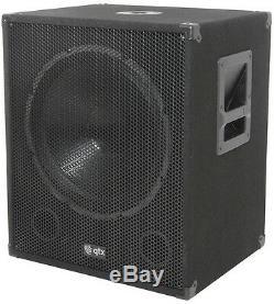 Qtx Qt15sa 15 Subwoofer Amplifié Actif Haut-parleur De Grave Pour Haut-parleurs Bass Dj Disco