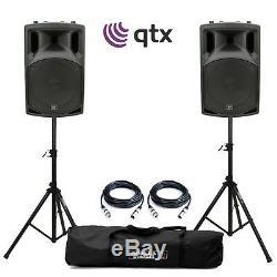 Qtx Qx12a 12 Haut-parleurs De Sonorisation Dj Disco Avec Amplificateur Actif, Trépieds Et Câbles