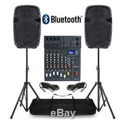 Système De Sonorisation Avec Haut-parleurs Actifs, Table De Mixage Et Supports 800w Bluetooth Usb Dj Disco