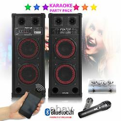 Système Karaoké Pa Bluetooth Disco Party Haut-parleurs Avec Mélangeur Et Microphones
