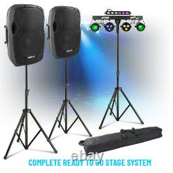 Système Pa Complet Haut-parleurs Actifs Et Partybar Uv Strobe Moon Disco Stage Light