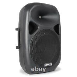 Vonyx 15 Inch Active Powered Pa Sound System Haut-parleurs Mics Stands 1200w Dj Disco