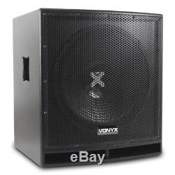 Vonyx 15 Subwoofer Subwoofer Basse Sono Fini Bois Actif Actif Dj Disco Haut-parleur 800w