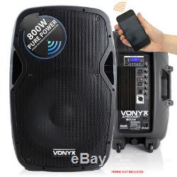 Vonyx Active Powered Dj Disco Pa Haut-parleurs Sans Fil Bluetooth 15 Stands 1600w