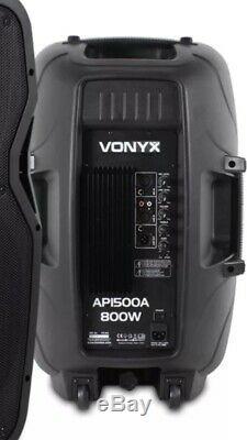 Vonyx Ap15a 15 Active Dj Speakers Paire Haut-parleurs Disco 800w