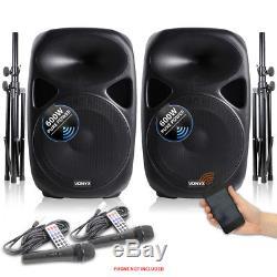Vonyx Enceintes De Sonorisation Amplifiées Actives 15 Pouces Pieds Pour Microphones 1200w Dj Disco