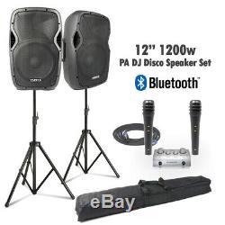 Vonyx Vocal Pa Active 12 Haut-parleurs Mp3 Bluetooth Système 1200w Et Supports Dj Disco