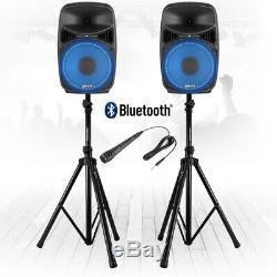 Vonyx Vps082a 8 Actifs Bluetooth Disco Haut-parleurs Dj Pa 400w Avec Des Stands