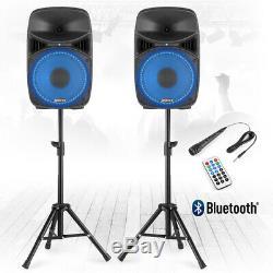Vonyx Vps102a 10 Actifs Bluetooth Haut-parleurs Disco Dj Pa Système Wth Supports Et Sacs