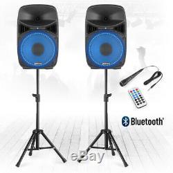 Vonyx Vps122a 12 Actifs Bluetooth Disco Haut-parleurs Dj Pa 800w Avec Des Stands