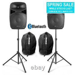 Vonyx Vps152a 15 Active Bluetooth Disco Speakers Dj Pa System Wth Stands & Bags