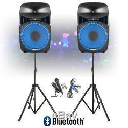 Vonyx Vps152a 15 Bluetooth Actifs Disco Dj Haut-parleurs Pa Système Wth Supports Et Sacs