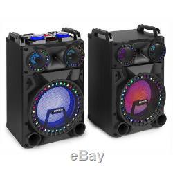 Vs12 Bluetooth Actifs Haut-parleurs Dj Party Powered Disco Ensemble Avec Des Lumières Led 1200w